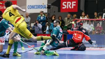 Wiler-Goalie und seiner Vorderleute (hier Matthias Hofbauer) zeigten im TV-Spiel eine perfekte Defensivleistung.
