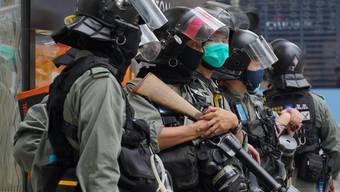 Sollen Demonstrationen verhindern: chinesische Polizei in den Strassen Hongkongs.