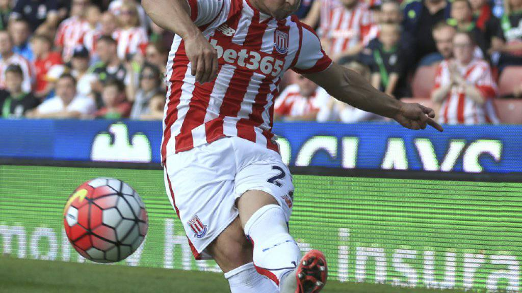 Stoke City's Xherdan Shaqiri takes a corner against Leicester City during the English Premier League match at the Britannia Stadium, in Stoke England Saturday Sept. 19, 2015. (Nigel French/PA via AP) UNITED KINGDOM OUT NO SALES NO ARCHIVE