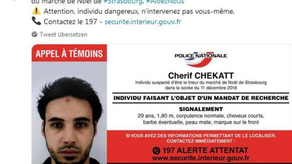 «Greifen Sie auf keinen Fall selber ein»: Die französische Polizei warnt vor dem mutmasslichen Attentäter von Strassburg.