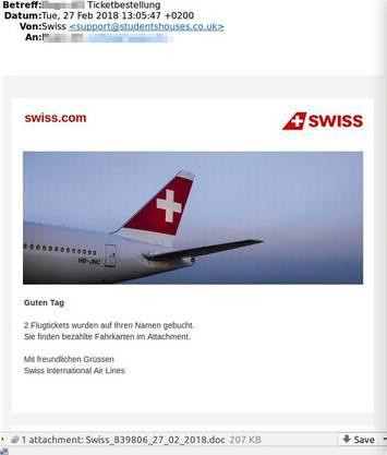 Wer den Anhang der Nachricht mit dem Absender Swiss öffnet, fängt sich einen E-Banking-Trojaner ein.
