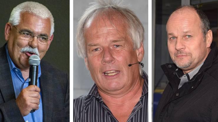 Stellen sich der Wiederwahl nicht mehr: Peter Plüss (Bözberg), Jakob «Schebi» Baumann (Villigen), Markus Büttikofer (Birr, von links).