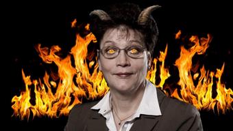 Silvia Steiner wird auf der Internetseite Bildungsstandort.ch von der Juso als Teufel dargestellt.
