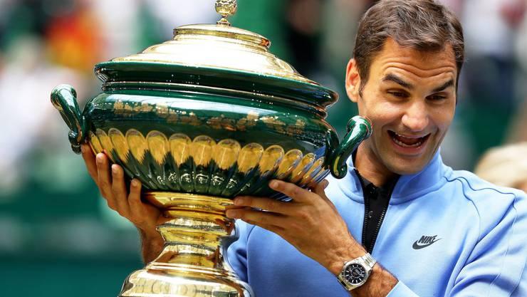 Roger Federer gewinnt das Turnier in Halle zum neunten Mal.