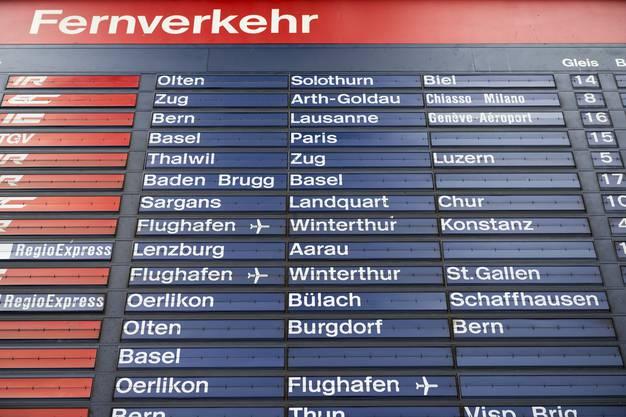 Die mechanische Fallblattanzeige am Hauptbahnhof in Zuerich
