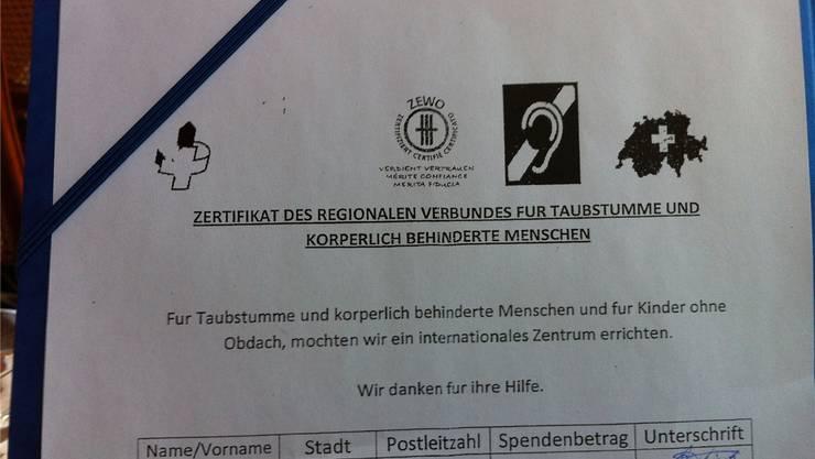 Ein gefälschtes Formular mit erdachten Lockvögeln.zvg