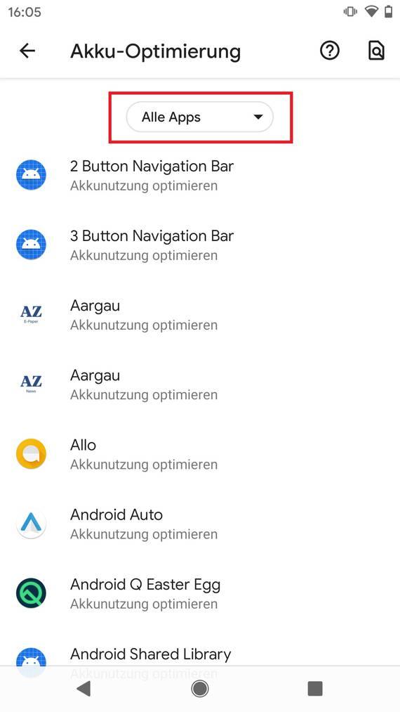 Achte hier darauf, dass «Alle Apps» ausgewählt ist