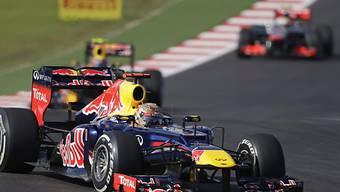 Hier führt Sebastian Vettel noch vor Mark Webber und Lewis Hamilton