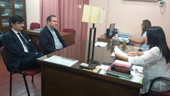 Der von seinem Amt zurückgetretene argentinische Bischof Gustavo Zanchetta, einst ein Vertrauter des Papstes, ist zu einer gerichtlichen Anhörung in seinem ehemaligen Bistum Oran erschienen. Ihm wird schwerer sexueller Missbrauch vorgeworfen. (Foto: Judicial Branch Press Office via AP Keystone)