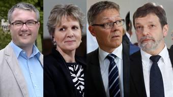 Remo Ankli, Brigit Wyss, Roland Fürst und Roland Heim: drei von ihnen machen das Rennen und bilden mit Esther Gassler und Peter Gomm die Regierung.