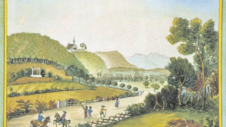 Der Zofinger Galgen mit dem Schloss Wikon. Künstler unbekannt.