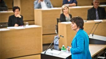 Doris Leuthard sprach sich gestern in Aarau für die Einschränkung der Rekursmöglichkeiten bei Infrastrukturprojekten aus. annika Bütschi