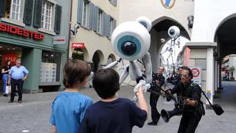 Die i-Puppets auf ihrer Tour durch Baden.