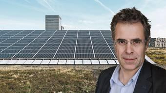 Christophe Bally ist Leiter des Fotovoltaiklabors der ETH Lausanne. Irgendwann wird Fotovoltaik auf dem Dach vielleicht zur Normalität, so wie hier in Zürich-Oerlikon.