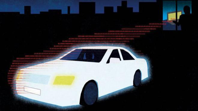 Schreckensvision: Hacker dringen in die Computer von Autos ein und manipulieren sie.  Illustration: Foto: Patric Sandri