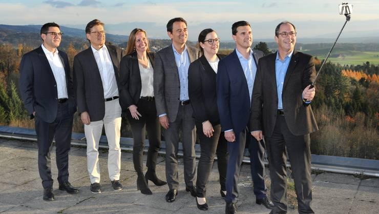 Von links: Antonio Nocito, Jürg-Hans Beer, Rahel Kubik, Philippe Scheuzger, Michèle Schmid, Cristoffel Schwarz und CEO Adrian Schmitter.