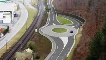 Ein wichtiger Bestandteil der geplanten Südwestumfahrung ist der neue Kreisel Brugg West. Visualisierung/BVU