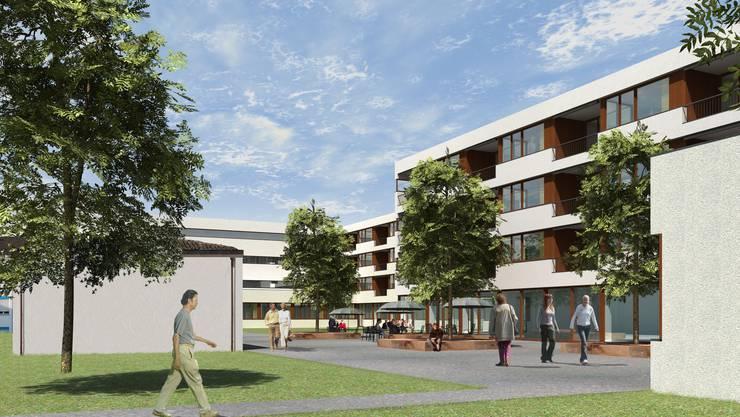 Projekt: Das Alters- und Pflegezentrum in der Güpf in Wohlen wird in einem vierstöckigen Gebäude geplant. (VISIONALISERUNG WETTER IMMOBILIEN AG)