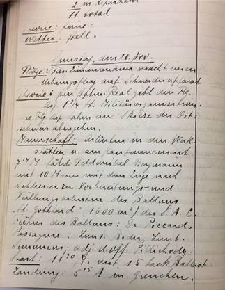 Der Eintrag vom 20. November 1915 im Tagebuch der Fliegerabteilung. Man beachte auch den Trainingsflug von Füsilier (Balthasar) Zimmermann.