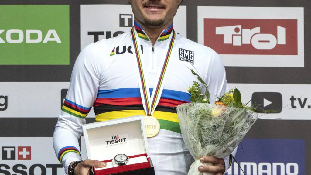 Der U23-Weltmeister Marc Hirschi nach seinem Solo-Sieg an der WM in Innsbruck