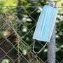 Eine benutzte Hygienemaske liegt weggeworfen auf einem Haag. (Symbolbild)