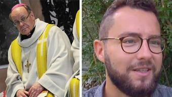 Pink Cross zieht die Klage gegen Huonder weiter. Bild: Bischof Huonder und Pink Cross-Geschäftsleiter Bastian Baumann.