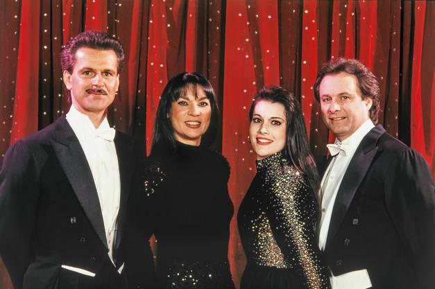 Franco, Marie-José, Géraldine und Fredy Knie junior. Undatierte Aufnahme aus den 1990er-Jahren.