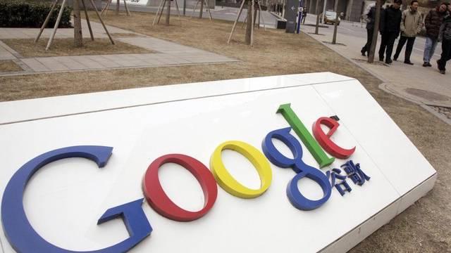 Google-Logo vor dem Hauptsitz in Peking (Archiv)