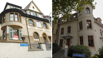 Als Stadtvilla gebaut, als Bürofläche zu mieten (links). Hinter dem Erkerfenster (rechts) liegt kein Kinderzimmer, sondern ein Büro.