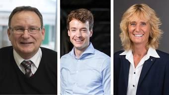 Diese drei Gemeindeammänner ziehen in den Grossen Rat (v. l.): Werner Scherer (SVP), Killwangen; Adrian Schoop (FDP), Turgi und  Susanne Voser (CVP), Neuenhof.