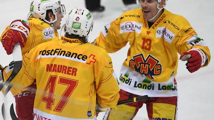 Biels Damien Brunner (rechts) feiert das 4:2 - sein persönlich dritter Treffer des Abends - gegen seinen ehemaligen Klub Lugano