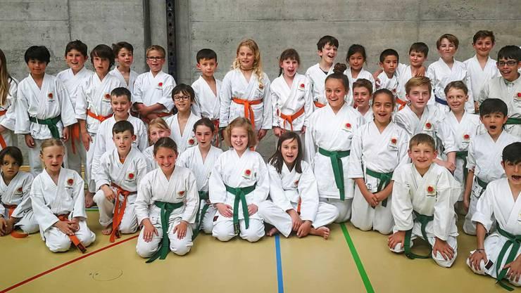 Karatekas und stolze Prüfungsabsolventen der Kampfsportschule Aarau.