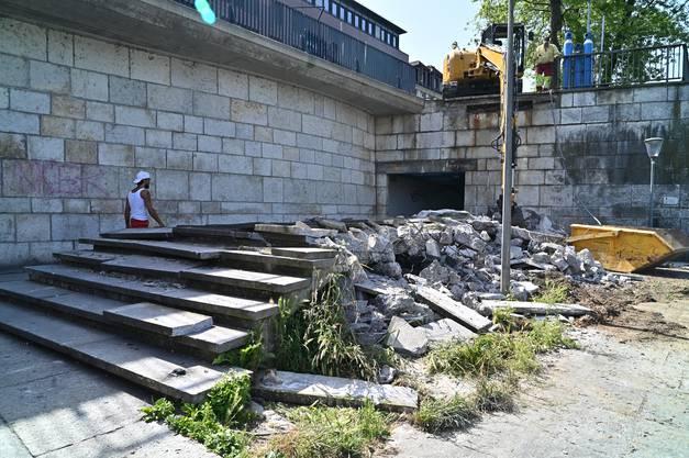 Abbruch Treppenzugang beim Bahnhof Olten zu Bahnhofterrasse