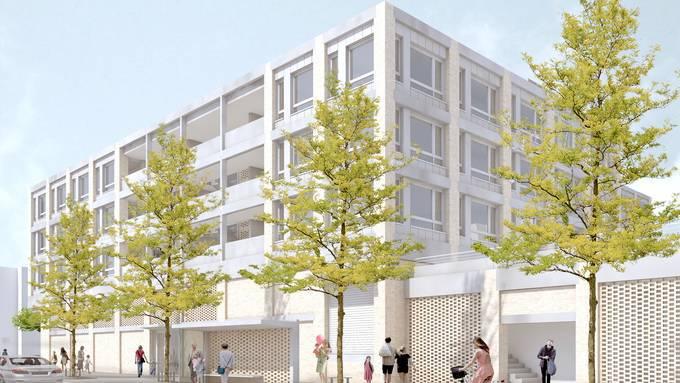 Baufeld Ost: der neue Geroldswiler Zentrumsbau – hier von der Limmattalstrasse her gesehen