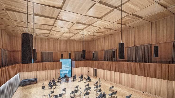 Das Trio Onyx darf im famosen Orchestersaal des Luzerner Orchesterhauses auftreten.
