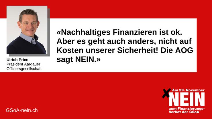Die Aargauer Offiziersgesellschaft sagt ein ja für unsere Sicherheit mit einem NEIN GEGEN DIE INITIATIVE.