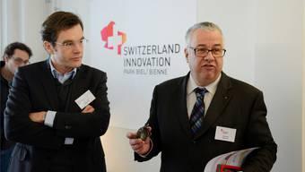 VR-Präsident Thomas Gfeller (l.) und CEO Felix Kunz präsentierten die bereits aktive Innocampus AG in Biel.
