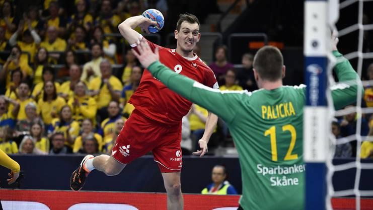 Zwei Tore aus fünf Abschlüssen, darunter zwei vergebene Penaltys: Lier mühte sich gegen Schweden-Goalie Andreas Palicka ab.