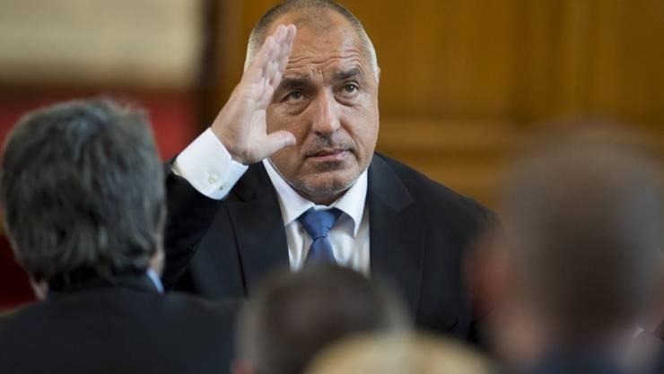 Boiko Borissow, der zum dritten Mal bulgarischer Regierungschef ist, bei seiner Vereidigung am Donnerstag im Parlament in Sofia.