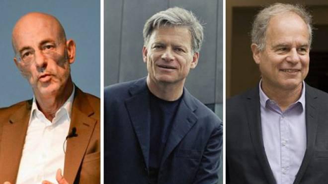 Erreichen das Pensionsalter: Jacques Herzog, Pierre de Meuron und Roger Diener (von links).  Fotos: Nicole Nars-Zimmer/Keystone