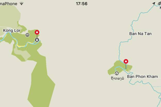 Nur auf der Offline-Map-Karte von Maps.me ist auch auf der anderen Seite der Höhle eine Strasse eingezeichnet