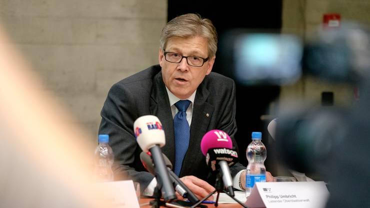 Oberstaatsanwalt Philipp Umbricht an der Pressekonferenz vom 13.05.2016 zum Vierfachmord in Rupperswil