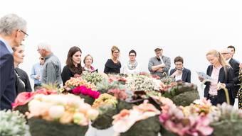 Bilder vom Aufbau der Ausstellung «Blumen für die Kunst» im Aargauer Kunsthaus in Aarau