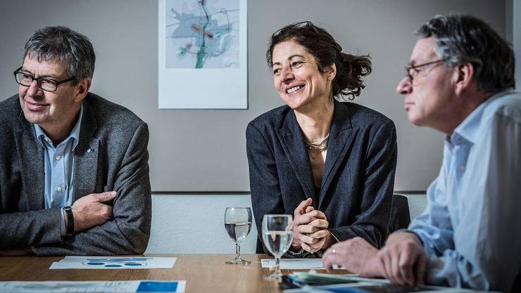 Stadtammann Daniel Mosimann, Stadtplanerin Helen Bisang und Stadtrat Martin Steinmann präsentierten erste Ergebnisse der Räumlichen Entwicklungsstrategie (RES) der Stadt Lenzburg.