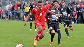 Marvin Spielmann gelang im Trikot der Schweizer U20 ein Tor bei der 3:1-Niederlage gegen seinen FC Aarau.