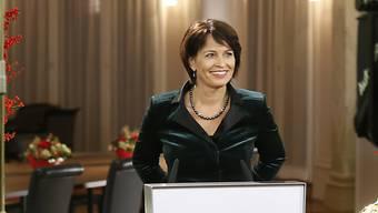 Bundespräsidentin Doris Leuthard - im Bild während der Aufzeichnung - plädiert in ihrer Neujahrsansprache für Solidarität und Zusammenhant.