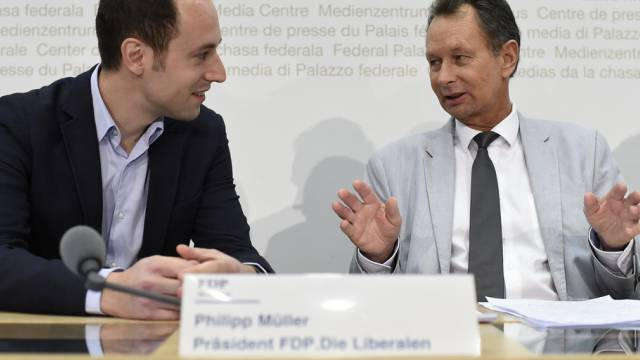 FDP-Vizepräsident Wasserfallen (links) und FDP-Präsident Müller