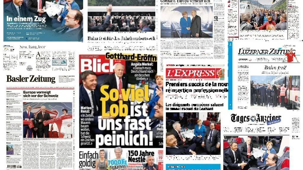 Titelseiten von Schweizer Tageszeitungen nach der Eröffnung des Gotthard-Basistunnels.