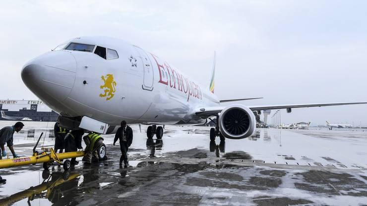 Diese Maschine, hier im Juli 2018 in Addis Abeba, stürzte ab.