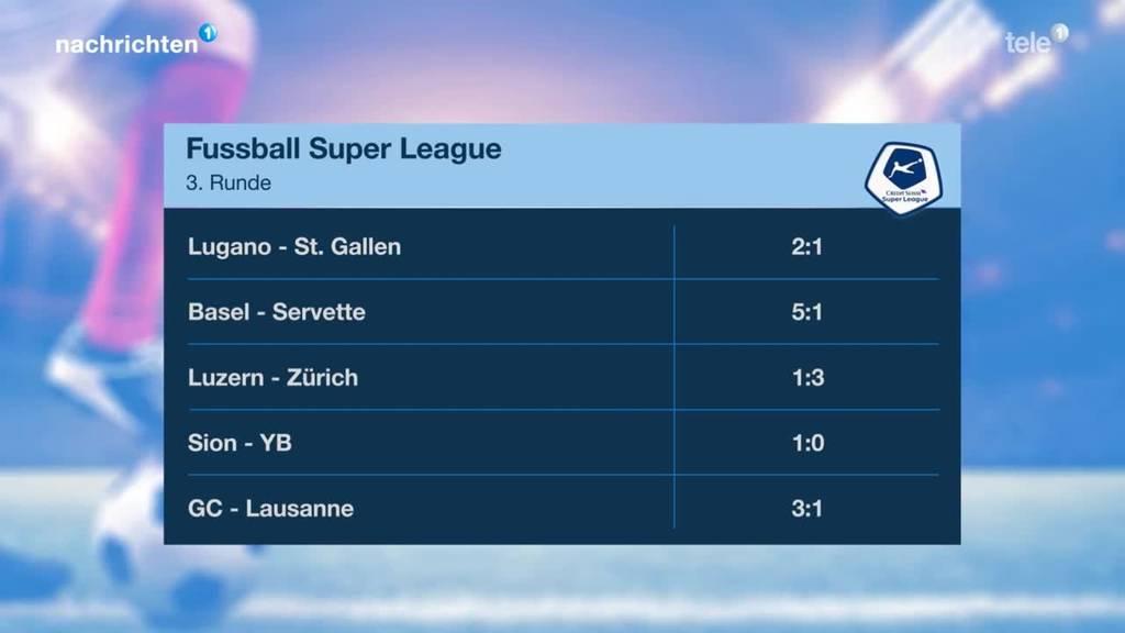 Resultate 3. Runde Fussball Super League